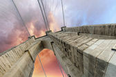 Clouds above Brooklyn Bridge, wide angle view — Stock Photo