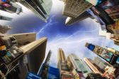 Upward fisheye view of Times Square Skyscrapers - Ads Removed — Stock Photo