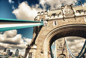 Wide angle view of Tower Bridge Structure with City background — Stock Photo