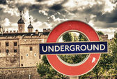 LONDON SEP 27: Close up of a traditional station sign for the London Underground — Stock Photo