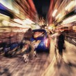 City traffic with motion blur at night in London — Stock Photo