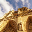 Upward street view of Notre Dame Cathedral in Paris — Foto de Stock