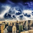Stock Photo: Storm above Manhattan Skyscrapers, New York