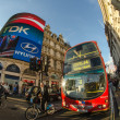 Stock Photo: LONDON - SEP 28:Classic Routemaster double decker bus speeds up