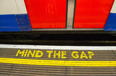 Mind the gap, warning in the London underground — Stock Photo