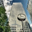 Canary Wharf financial district buildings in London. - Stock Photo