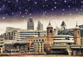 Stars over City of London, financial center and Canary Wharf at — Stock Photo