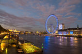 London Skyline at dusk from Westminster Bridge with illuminated — Stock Photo