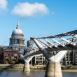 Millennium Bridge and St.Paul&#039;s Cathedral, London - Stock Photo