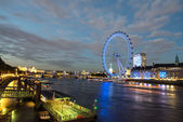 London Skyline at dusk from Westminster Bridge with illuminated — Stock Photo