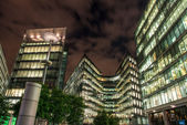 London Modern Buildings illuminated at Night — 图库照片