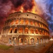 Wonderful view of Colosseum in all its magnificience - Autumn su - Stock Photo