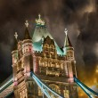 Stock Photo: Detail of Tower Bridge in London at night
