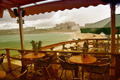 Pub near Princess Juliana Airport during a Storm — Stock Photo