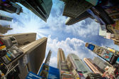Dramatic Sky above Giant Skyscrapers, fisheye view — Stock Photo