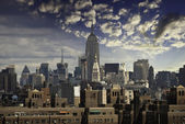 Manhattan Skyline from Brooklyn Bridge — Stock Photo