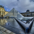 Paris -  Louvre Pyramid reflects on Water on November, 16 - Stok fotoğraf