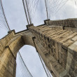 Magnificient structure of Brooklyn Bridge - New York City - Stok fotoğraf