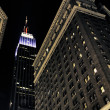 Skyscrapers Exterior in New York City at Night — Stock Photo