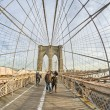 Magnificient structure of Brooklyn Bridge - New York City - Zdjęcie stockowe