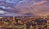 Západ slunce nad mrakodrapy new yorku — Stock fotografie