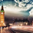 Beautiful colors of Big Ben from Westminster Bridge — Stock Photo