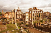 View of Roman Forum, focus on the Saturn's Temple in foreground. — Stock Photo