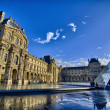 Paris: Louvre Pyramid reflects on Water on November, 16 — Stock Photo