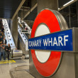 Stockfoto: London: London Underground sign outside Canary