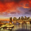 Stock Photo: New York City - Manhattskyline at winter sunset