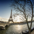 Stock Photo: Sunrise in Paris, with the Eiffel Tower - Tour Eiffel from Troca