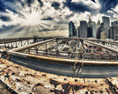 Winter-farben brooklyn bridge - new york city — Stockfoto