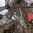 Paris. Unusual Eiffel Tower lifts that take passengers to the vi — Stock Photo