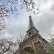 Paris. Wonderful wide angle view of Eiffel Tower from street lev — Stock Photo