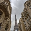 Paris Buildings with Eiffel Tower in the middle. - Zdjęcie stockowe