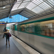 Stock Photo: Train departing from metro station in Paris