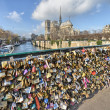 PARIS - DEC 1: Lockers at Pont des Arts symbolize love for ever, — Stock Photo