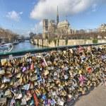 PARIS - DEC 1: Lockers at Pont des Arts symbolize love for ever, — Stock Photo