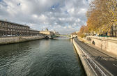 Beautiful view of Paris and Seine River in Winter — Foto Stock