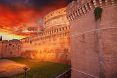 Castel Santangelo at autumn sunset, beautiful side view - Rome — Stock Photo