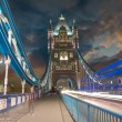 Tower Bridge at Night with car light trails - London - 图库照片