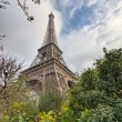 Stock Photo: Paris. Eiffel Tower with vegetation and trees on winter mornin