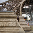 Eiffel Tower Pylon and bottom, street level view — Stock Photo