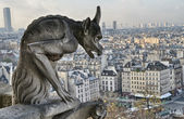 Paris. Closeup of gargoyle on the top of Notre-Dame Cathedral - — Stock Photo
