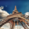 Paris. Beautiful view of Eiffel Tower with sky sunset colors — Stock Photo #17997389