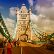 Beautiful wideangle view of Tower Bridge Powerful Structure Deta - Stock Photo