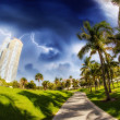 Stock Photo: Walkway in beautiful park South Pointe in Miami Beach, U.S