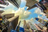 Dramatic Sky above Giant Skyscrapers, fisheye view — Stock Photo
