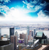 New York City - USA. Beautiful Skyscrapers aerial view at sunset — Stock Photo
