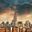Stock Photo: Wonderful view of ManhattSkyscrapers with beautiful sky color